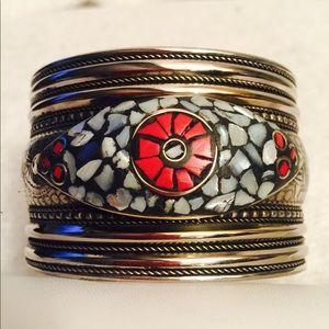 Conch shell n coral cuff bracelet